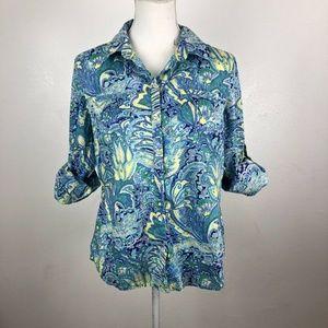 Tommy Hilfiger Large Blue Floral Paisley Button Up